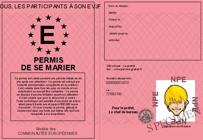 Gage #46 (et défi) : délivrer un permis de se marier pour un EVJF et un EVG